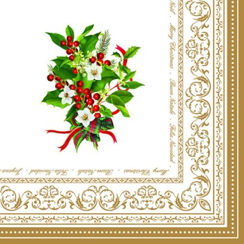 R2S Božićni paket od 20 salveta 33x33 CHRISTMAS HOLLY
